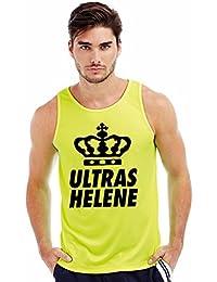 Tank Top Muskelshirt Helene Ultras Mallorca 2015 Fanshirt für Echte Fans Farbe knalliges Neongelb mit Schwarzem Aufdruck für Frauen und Männer