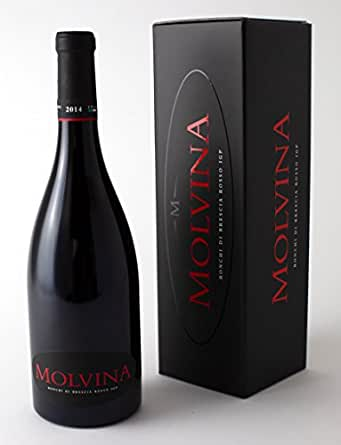 MOLVINA Luxury Fine Red Wine | Full bodied, tones of red berries | Ronchi di Brescia Rosso Vintage 2014 | From an Italian boutique vineyard, oak barrels aged 50 mns |1 x 75cl bottle in elegant box