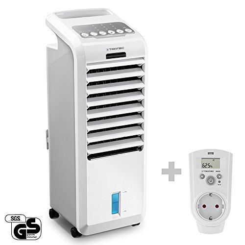 TROTEC PAE 26 Aircooler Mobiles Klimagerät 3-in-1 Luftkühler Ventilator Lufterfrischer Klimaanlage (3 Gebläsestufen, Timer, Nacht-Modus, Naturwind-Modus, uvm.) inkl. Steckdosen-Hygrostat BH30