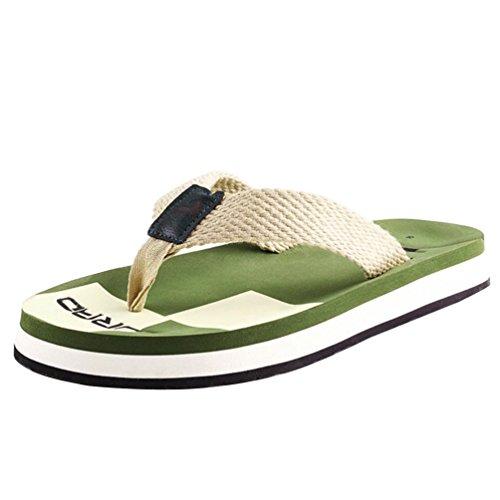 Baymate Hommes Tongs Sandales De Plage Confort Pantoufles Tongs Vert