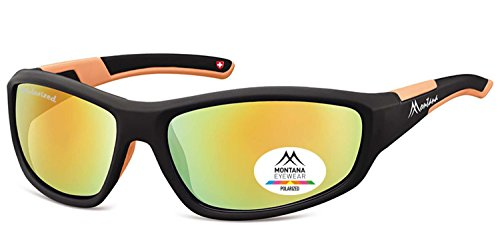 Montana Polarisierte Sonnenbrille und gratis Brillenetui SP 311A schwarz + orange revo Objektive