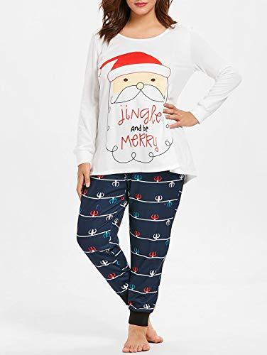 Baumwoll-print-nachthemd (Mode-Strampler-Kleidung Mädchen-Santa-Pyjama-Set Baumwolle Plus Size Weihnachtsmann-Print Weihnachtspyjama-Set Nachthemd Nachthemd (Size : 2X))