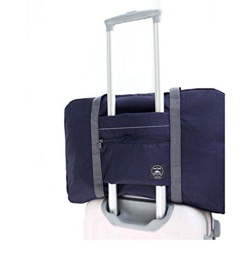 FunYoung Superleichtes Tragbares Handgepäck Faltbare Reisetasche aus Polyester Farbwahl (Schwarzblau)