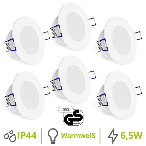 linovum® 6er WEEVO Set runde LED Einbauleuchten für Bad & Außen IP44 - warmweiß 6,5W - Deckenlicht mit flachem Einbau 29 mm