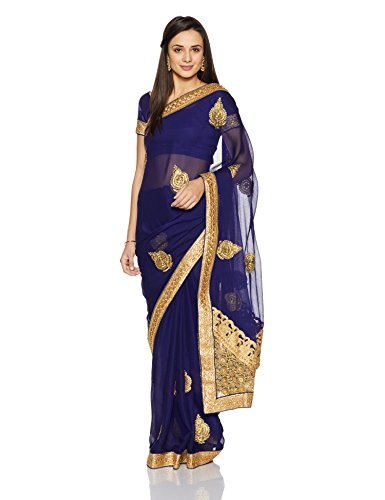 Womanista Women's Embroidered Faux Georgette Saree with Blouse Piece (FS9210-Blue-Free Size)