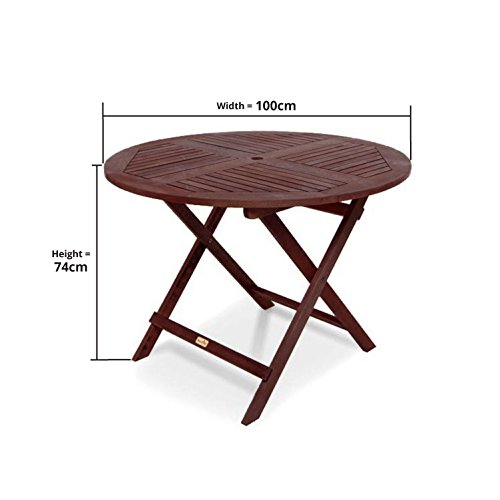 BillyOh Hampton 1.0m Hardwood Eucalyptus Folding Wooden Round Dining Table