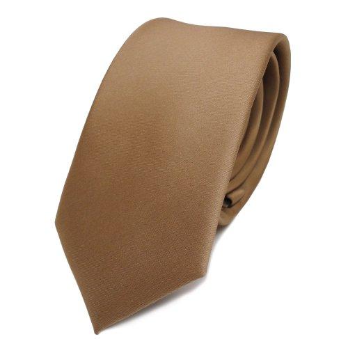 TigerTie schmale Satin Krawatte gold uni - Binder Schlips Tie - 100% Polyester -