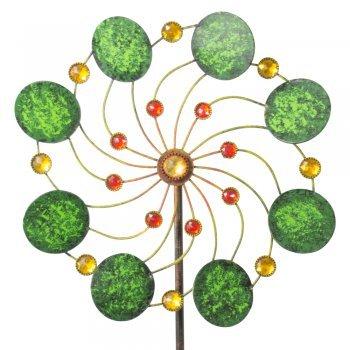 IMC Networks CIM Exotic Flower Samoa - Moulin à Vent de Jardin en métal à roulement à Billes Résistant aux intempéries avec Tige de Support 3 pièces Ø 34 cm Hauteur Totale : 122 cm