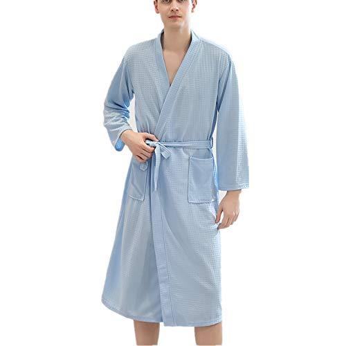 DUJUN Herren Waffel Bademantel, dünner Herren Kimono, 2 Taschen, Gürtel - weicher, saugfähiger, komfortabler Spa Hotel - Vater Himmel Kostüm