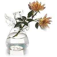 Chytaii. Jarrón de Flores Florero de Angel de Vidrio Espesado Transparente Maceta Flor para Colgar Decoración de Flores Plantas Decoración del Jardín 9 * 5CM