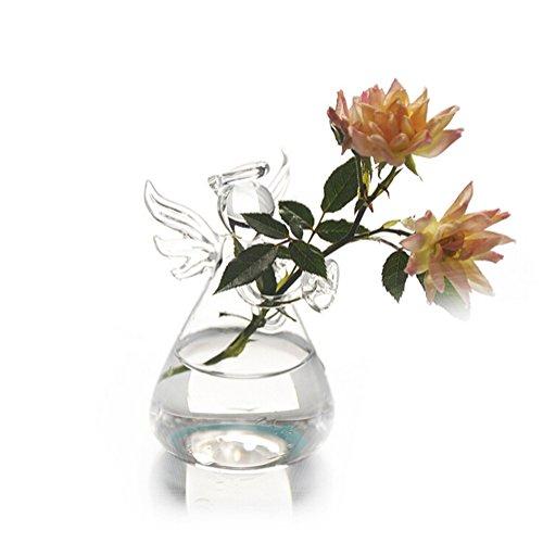 DaoRier Netter kleiner Engel Transparent Glas Desktop Vase Büro Ornamente Glas Blumenvase Handwerk Vase für Office Home Desktop-Dekoration (Handwerk Vase)