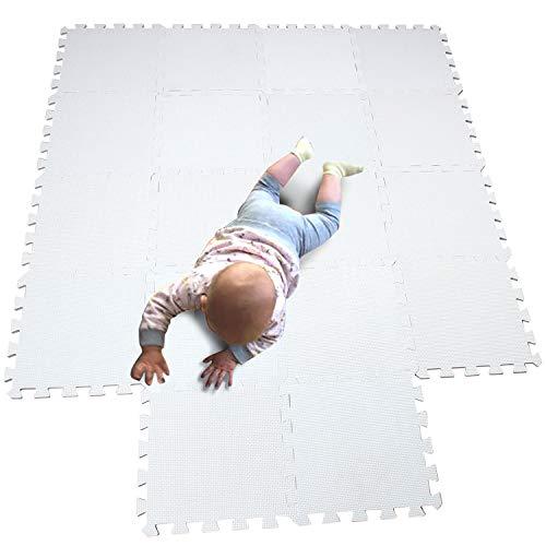 MQIAOHAM 18 Pieces Turnen Matten Tumbling Fitness Kleingeräte Gymnastikmatten Trainingsmatten Puzzlematten Bodenpuzzles weiß 101