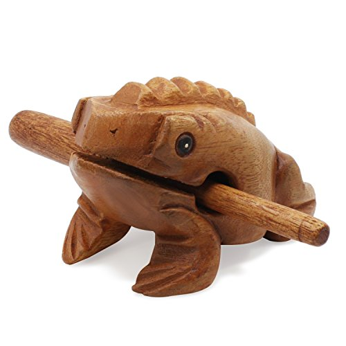 Aussel Guiro Croaking Wooden Frog with mallet, Musical Instrument Sound Block, Fair Trade Percussion Instrument (8.8CM)