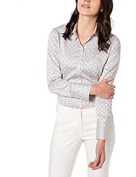 eterna Damen Bluse Comfort Fit Langarm Sand Bedruckt mit Hemd-Kragen