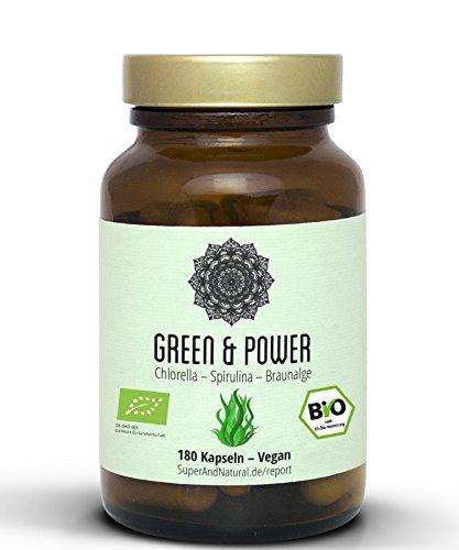 Spirulina Chlorella Kelp Kapseln I Vegan I Zertifikate als Produktbild I 180 Stück I Green & Power - Superfood Algen Mix Für Dein Immunsystem I Mit Acerola I Hochdosiert