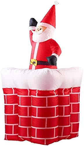 Decorazione natalizia gonfiabile xxl babbo natale con camino, 160 cm (waving santa claus)