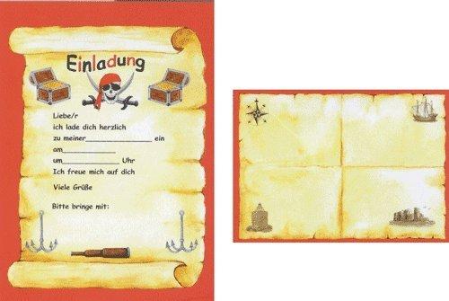 24-teiliges Einladungsset PIRATEN in DIN A5 von Döll-Verlag // 35233 // 12 Einladungen und 12 Umschläge für Kindergeburtstag // Kinder Geburtstag Einladungskarten Einladung Karten Freibeuter Pirat Seeräuber Totenkopf Schwarze (Piraten Karte)