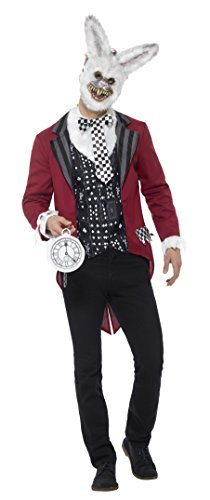 e Weißer Hase Kostüm, Jacke, Weste, Maske und Taschenuhr, Größe: XL, 46826 (Böse Alice Kostüme)