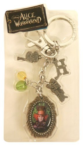 Disney Pewter Key Ring - Charms - Mad Hatter, Scissors, Hat, 10/6, Teacup, Spool, Logo and Beads by Disney