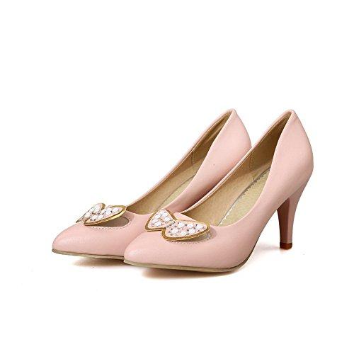 VogueZone009 Damen Pu Leder Hoher Absatz Spitz Zehe Eingelegt Ziehen Auf Pumps Schuhe Pink