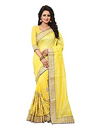 Jari Embroidery work Jacquard Silk Sari in Yellow