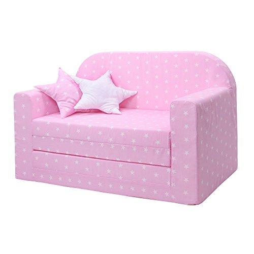 LULANDO Classic Kindersofa Kindercouch Kindersessel Sofa Bettfunktion Kindermöbel zum Schlafen und Spielen, Farbe: Sternchen Rosa