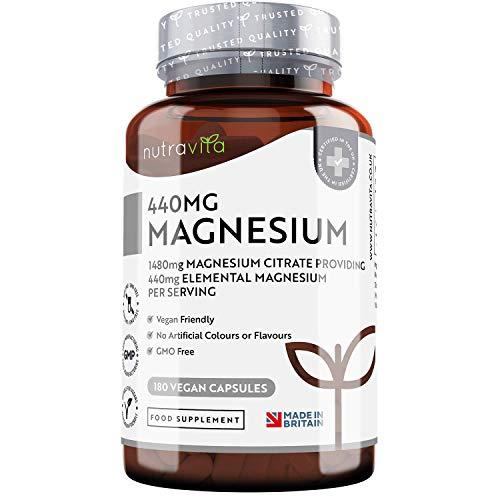 Citrato de Magnesio 1480mg que Proporciona 440mg Alta Dosis de Magnesio Elemental - Alta...