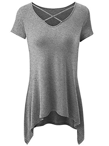 uideazone Womens Girls Criss Cross V-Ausschnitt Tunika Slim Fit T shrits T-Shirt Tops Grau (Tunika Top Graue)