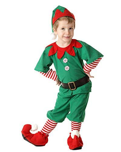 Yigoo Weihnachten Elfe Xmas Weihnachtself Kostüm Kinder Jungen Mädchen Weihnachtskostüm Outfit Kleid/Tops mit Hut Gürtel Strumpfhosen Set Herren 150