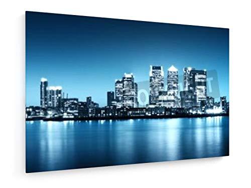 Panoramabild von Canary Wharf Ansicht von Greenwich. - 90x60 cm - Textil-Leinwandbild auf Keilrahmen - Wand-Bild - Kunst, Gemälde, Foto, Bild auf Leinwand - Städte & Reise
