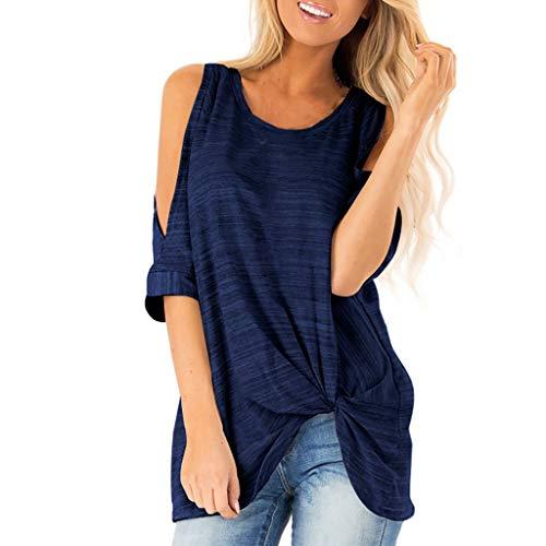 Honestyi Damen Kurzarm Tau Schulter Striped Print T Shirt Casual Bluse T Shirt Tops Damenmode Rundhals trägerloses geknotetes lässiges Top(Marine,XL)