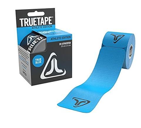 TRUETAPE Athlete Edition elastisches Kinesiologie Tape - 20 vorgeschnittene Streifen 25cm x 5cm (TRUE BLUE)