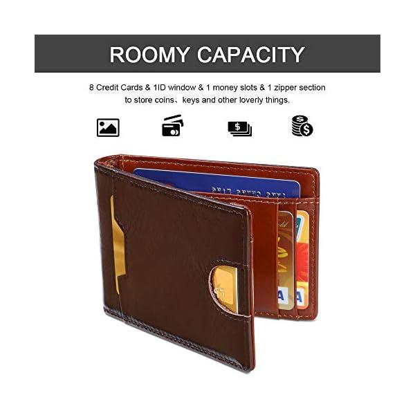 flintronic Portia Carte di Credito e Tasche Pelle, RFID/NFC Blocco Portafoglo, (1 Scomparto Con Cerniera, 6 Slot Per… 4 spesavip