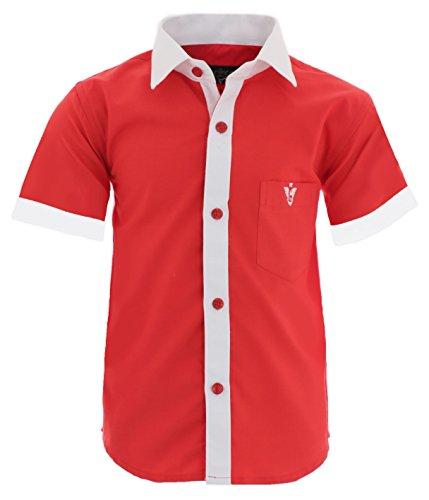 A20 Kinder Party Hemd Freizeit Hemd Bügelleicht Kurz Arm mit 8 Farben Gr.86-158 (152/158, Rot)