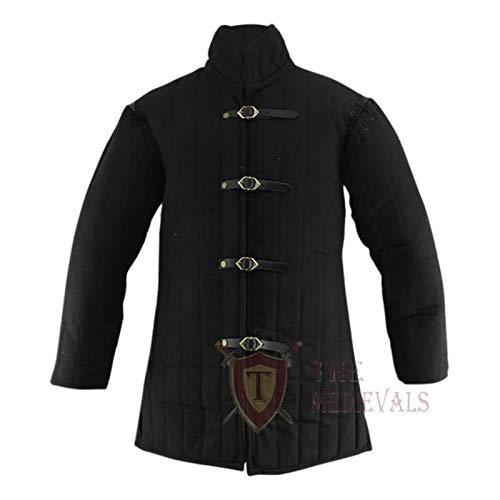 The Medieval Shop Dicker gepolsterter Gambeson-Mantel Aketon Jacke, Schwarz XL Schwarz