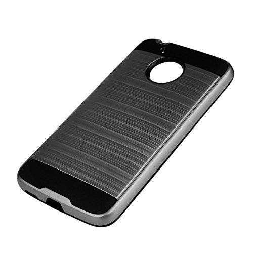 EGO® Hard Case Brushed Coque pour Lenovo Moto G5Housse Cover métallique Effect Coque bumper etui gris