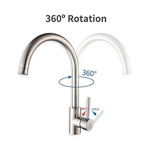 Homelody Wasserhahn Küche mit Brause Küchenarmatur 360° schwenkbar/drehbar Auslauf Spültischarmatur Spülbecken Spültisch Armatur Mischbatterie für Küche - 3