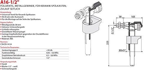 """Füllventil für WC- Keramik Spülkasten 1/2"""" Füll-Ventil Metall-Anschlußgewinde Seitlich Neu Schwimmerventil Gewindeendung"""