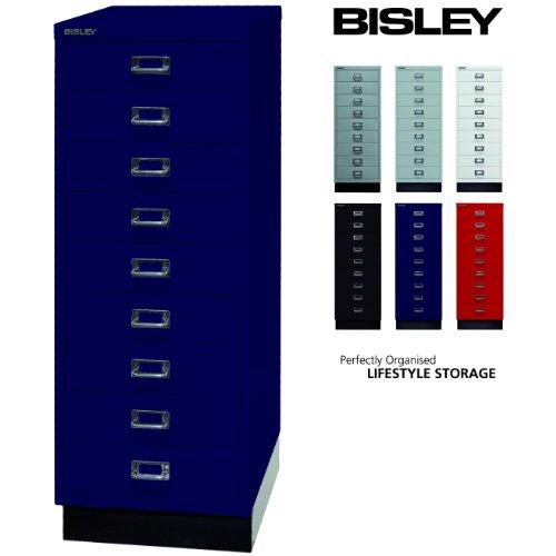 Bisley Schubladenschrank 39 aus Metall | Schrank mit 9 Schubladen und Sockel | Büroschrank DIN A3 | Werkzeugschrank | Metallschrank in 6 Farben (Oxfordblau)