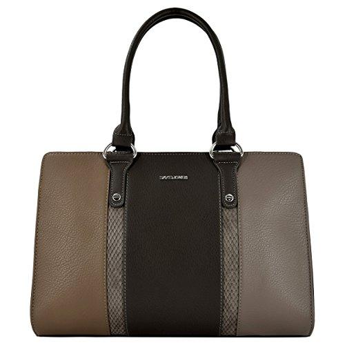David Jones - Damen Handtasche mit Python Schlange leder imitat - Schick und elegant Frau Tasche - Khaki Taupe Braun (Python-schulter-handtaschen)