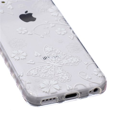 iphone 5C Coque, MYTH Doux Flexible - Esquisser Plume Slim Silicone Ultra Mince TPU Bumper Protection Housse Pour iphone 5C Solide Blanc Papillon