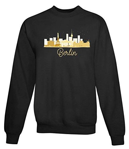 Billion Group | Berlin Skyline Golden | City Collection | Women's Unisex Sweatshirt Noir