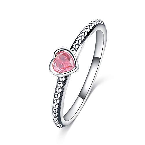 RQZQ Ring ping Mode Silber Farbe Liebe Herz Marke Ring Stapelbar Ring mit 3 Farbe Zirkon für Frauen Hochzeit Schmuck Geschenk (Ping Film)