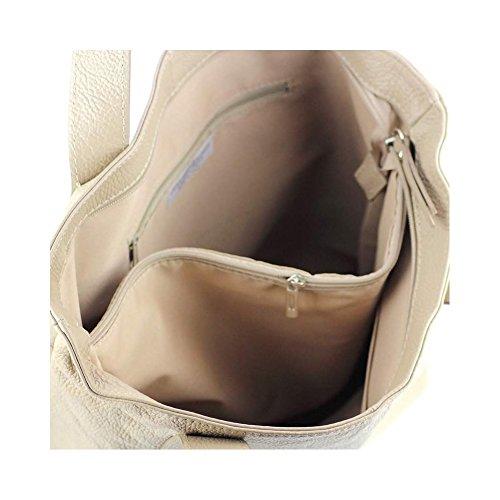 Tote Bag In Pelle Grigia Roma N1465 Borsa In Vera Pelle / Borsa Tendenze Moda Primavera-estate Beige-f