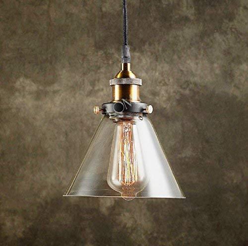 Lomt, lampadario a sospensione in moderno stile vintage industriale, con struttura in metallo e plafoniera a cono in vetro, edizione del 2017