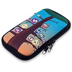 """kwmobile Funda Universal para móvil de M - 5,5"""" - Estuche de [Neopreno] con [Cierre] - Carcasa con diseño búho árbol"""