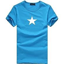 Waotier Camiseta De Manga Corta para Hombre Camiseta De Cuello Redondo Estampado Pentagrama para Hombre Ropa