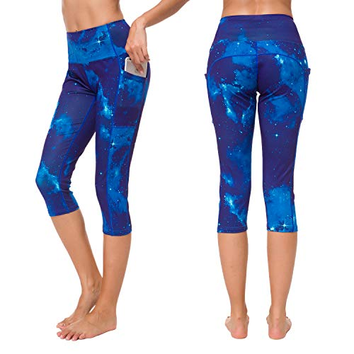 Munvot Yoga Leggings Damen mit Taschen Sporthose Yogahose Tights Fitnesshose Sport Leggings für Damen - Uranus(3/4)/XXL (DE46-48)