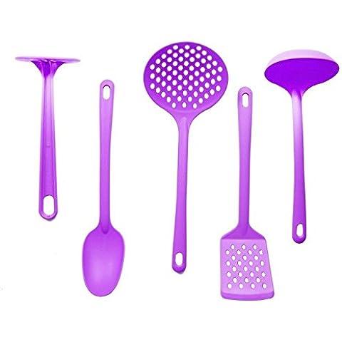 5 utensili da cucina in Nylon, colore: melanzana, completo di Set di posate da cucina