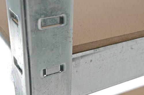 CLP Schwerlastregal, Metall, verzinkt, Tragkraft 875 kg, 5 Böden, Lagerregal Farbe + Höhe wählbar silber, 180 x 90 x 40 cm - 6